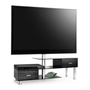 Mesa TV + Soporte TV LCDnegra superficie cristal