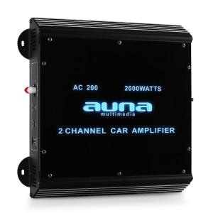Amplificador coche Auna W2-AC200 2 canales LED. 2000 W 2