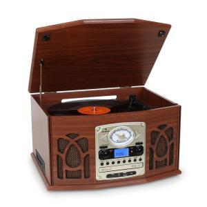 NR-620 tocadiscos de vinilo cadena estéreo MP3 CD marrón oscuro Caoba