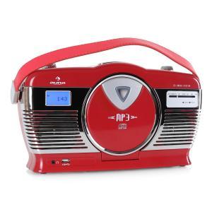 RCD-70 Radio retro FM USB CD pilas rojo Rojo
