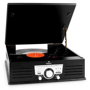 TT-92B Tocadiscos con altavoces USB SD AUX FM color negro Negro