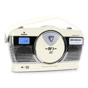 RCD-70 Radio retro FM USB CD pilas beige Crema