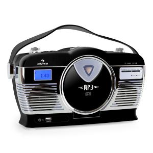 RCD-70 Radio retro FM USB CD pilas negro