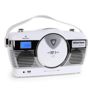RCD-70 Radio retro FM USB CD pilas blanco Blanco