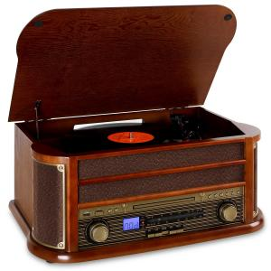 Belle Epoque1908 Minicadena con tocadiscos USB CD MP3 Bluetooth Marrón | CD-Player / Bluetooth