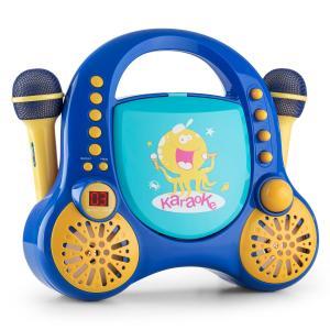 Rockpocket Karaoke infantil CD AUX 2 micrófonos Pegatinas Azul Azul