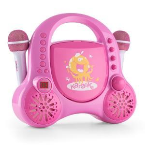 Rockpocket Karaoke infantil CD AUX 2 micrófonos Pegatinas Rosa  Rosa
