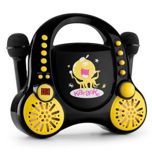 Rockpocket Karaoke infantil CD AUX 2 micrófonos Pegatinas Negro Negro