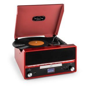 RTT 1922 Cadena estéreo retro MP3 CD USB FM AUX función grabación roja