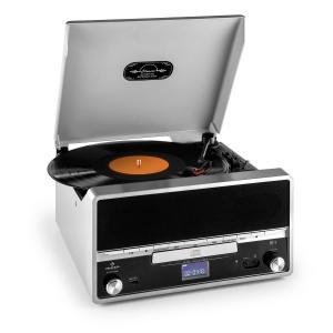 RTT 1922 Cadena estéreo retro MP3 CD USB FM AUX función grabación plateada