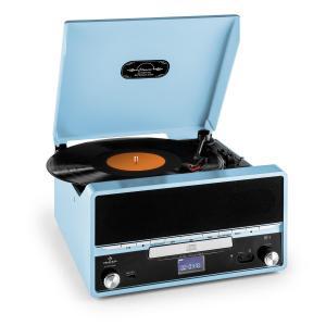RTT 1922 Cadena estéreo retro MP3 CD USB FM AUX función grabación azul