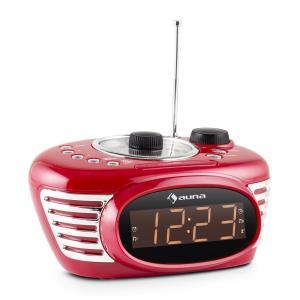 RCR 56 RD Radio despertador Retro FM/AM AUX Alarma dual rojo