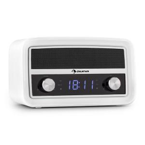 Caprice WH Radio despertador retro Bluetooth VHF USB AUX Blanco