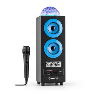 DiscoStar Azul Portátil 2.1 Altavoz con Bluetooth USB SD Batería LED Micrófono Azul