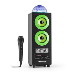DiscoStar Verde Portátil 2.1 Altavoz con Bluetooth USB SD Batería LED Micrófono Verde