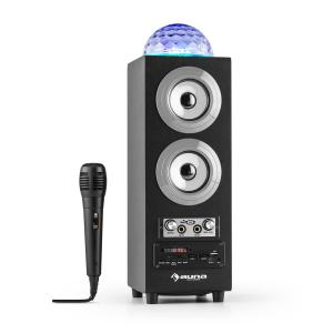 DiscoStar Plateado Portátil 2.1 Altavoz con Bluetooth USB SD Batería LED Micrófono Plata