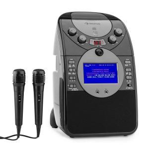 ScreenStar Equipo de karaoke Cámara CD USB SD MP3 incl. 2 x micrófonos negro