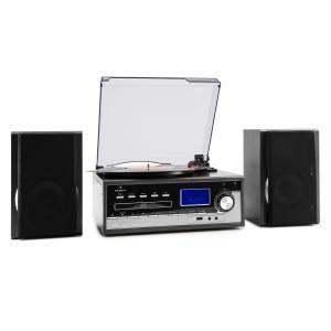 Blackwood Equipo estéreo Tocadiscos USB MP3 Codificación CD Casete FM AUX Negro