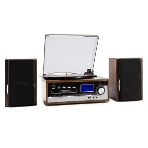 Deerwood Equipo estéreo Tocadiscos USB MP3 Codificación CD Casete FM AUX Marrón