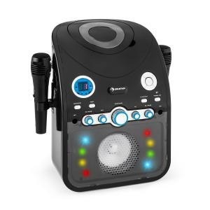 StarMaker Equipo de karaoke reproductor de CD Bluetooth AUX Efectos de luz LED 2 x micrófonos Negro