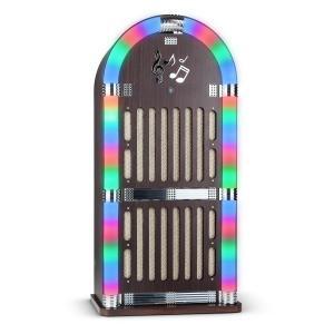 Memphis DK Máquina de discos Bluetooth FM 2 x AUX Efectos de luz LED madera