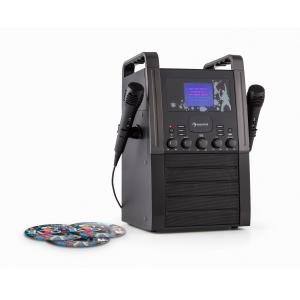 KA8P-V2 BK Equipo de Karaoke Reproductor CD AUX 2 x micrófonos 3 x Karaoke-CD+G