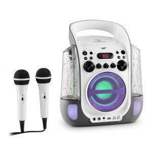 Kara Liquida Equipo de karaoke CD USB MP3 Chorro de agua LED 2x Micrófono móvil Gris