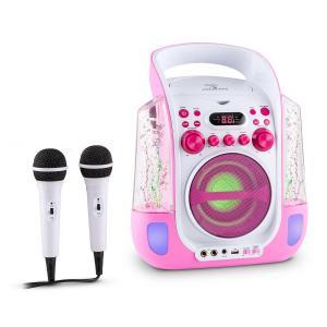 Kara Liquida Equipo de karaoke CD USB MP3 Chorro de agua LED 2x Micrófono móvil Rosa