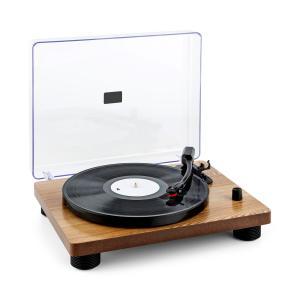 TT Classic WD Tocadiscos retro USB Line-Out Altavoces chapa de madera Marrón