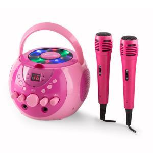 SingSing Sistema de karaoke portátil LED Funcionamiento a pila 2 x micrófonos Rosa