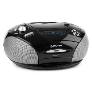 RCD 220 Boombox CD USB Radio Reproductor de cassette PLL FM MP3 negra Negro