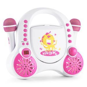 Rockpocket Equipo de karaoke infantil CD AUX 2x micrófono juego de pegatinas blanco Blanco