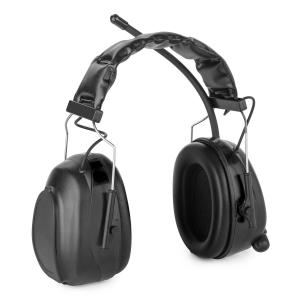 Jackhammer 2.0 Orejeras de protección auditiva con radio FM, AUX In, SNR 28 dB, ABS Negro