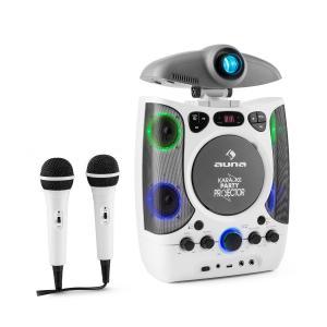 KaraProjectura Equipo de karaoke con proyector Luces LED USB blanco