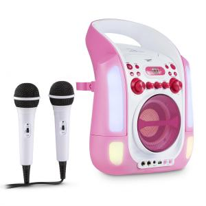 Kara Illumina Equipo de karaoke CD USB MP3 Espectáculo de luces LED 2 x micrófonos móvil rosa