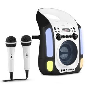 Kara Illumina Equipo de karaoke CD USB MP3 Espectáculo de luces LED 2 x micrófonos móvil negro