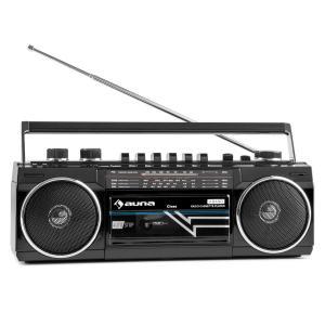 Duke Retro-Boombox reproductor de casete portátil USB SD Bluetooth FM-Radio Negro