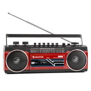 Duke Retro-Boombox reproductor de casete portátil USB SD Bluetooth FM-Radio Rojo