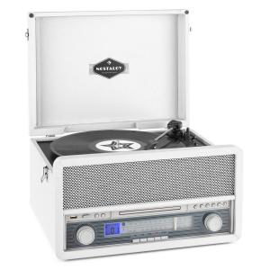 Belle Epoque 1907 sistema de audio retro toca discos casete Bluetooth USB Blanco