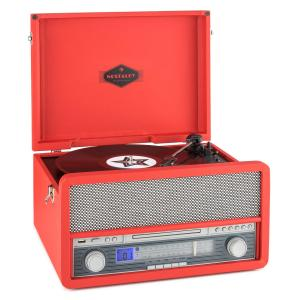 Belle Epoque 1907 sistema de audio retro toca discos casete Bluetooth USB Rojo