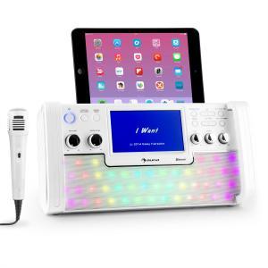 "DiscoFever Bluetooth equipo de karaoke LED Pantalla 7"" CD USB blanco Blanco"
