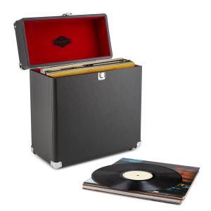 VinylBox baúl para discos cuero nostalgia 30 LPs negro Negro
