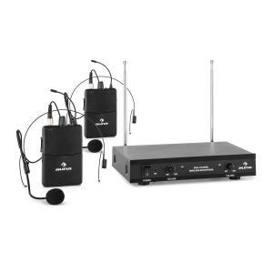VHF-2-HS Juego de micrófono inalámbrico VHF de 2 canales con 2 micrófonos c