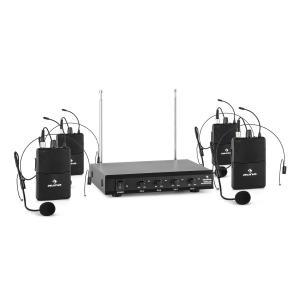 VHF-4-HS Juego de micrófono inalámbrico VHF de 4 canales con 4 micrófonos c