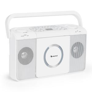Boomtown USB Reproductor de CD Radio FM MP3 portátil Boombox blanco Blanco