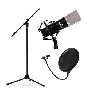 Set Micrófono de estudio, soporte y protector anti-pop