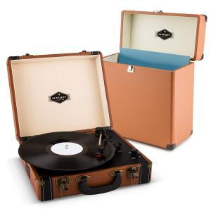 Jerry Lee Record Collector Set marrón | Tocadiscos retro | Maleta para tocadiscos
