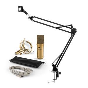 MIC-900G USB set de micrófonos V3 micrófono de condensador+brazo de micrófono cardioide dorado
