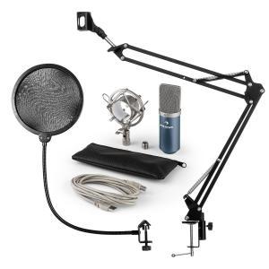 MIC-900BL Juego de micrófono V4 USB Micrófono de condensador Protector antipop Brazo para micrófono azul