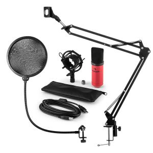 MIC-900RD Juego de micrófono V4 USB Micrófono de condensador Protector antipop Brazo para micrófono rojo